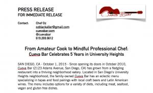 Restaurant Press Release - Cueva Bar, San Diego | Scribaceous.com