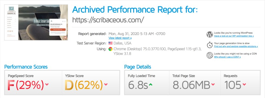 Website Speed Optimization Before and After | SCRIBACEOUS.COM