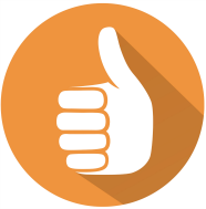 Thumbs Up Orange Circle Trimmed Small